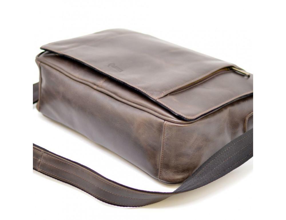 Тёмно-коричневая сумка на плечо мужская из натуральной кожи TARWA GC-7338-3md - Фото № 6