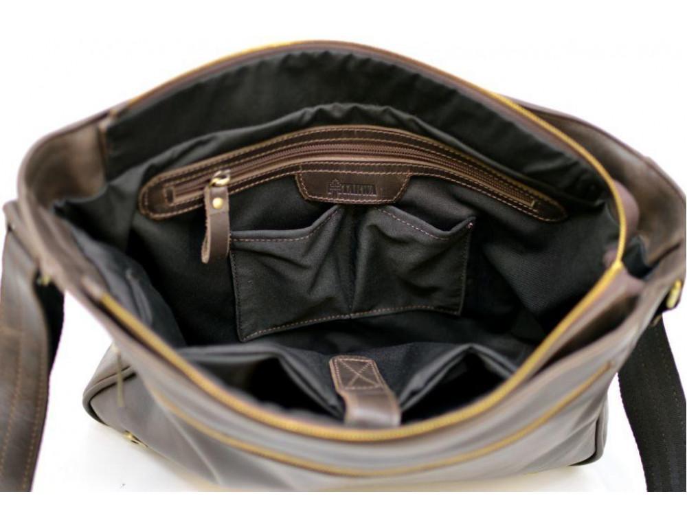 Тёмно-коричневая сумка на плечо мужская из натуральной кожи TARWA GC-7338-3md - Фото № 7