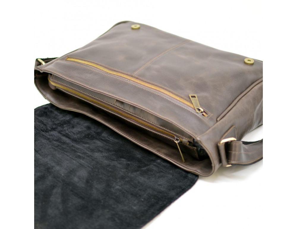 Тёмно-коричневая сумка на плечо мужская из натуральной кожи TARWA GC-7338-3md - Фото № 8
