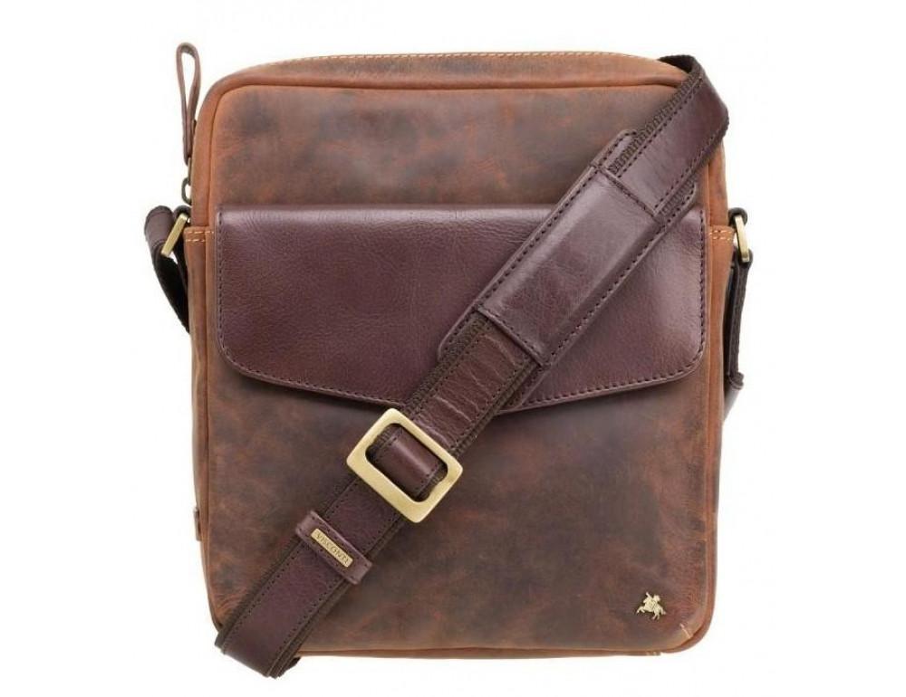 Коричневая мужская сумка на плечо Visconti TC70 OIL TAN - Vesper A5  - Фото № 1