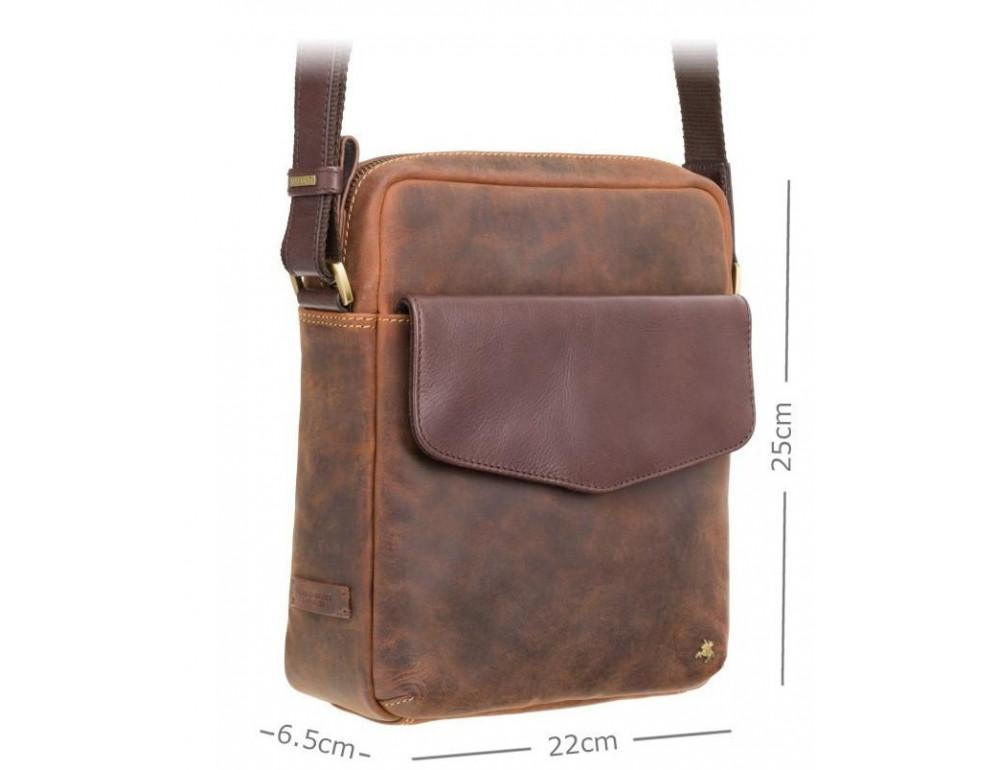 Коричневая мужская сумка на плечо Visconti TC70 OIL TAN - Vesper A5  - Фото № 3