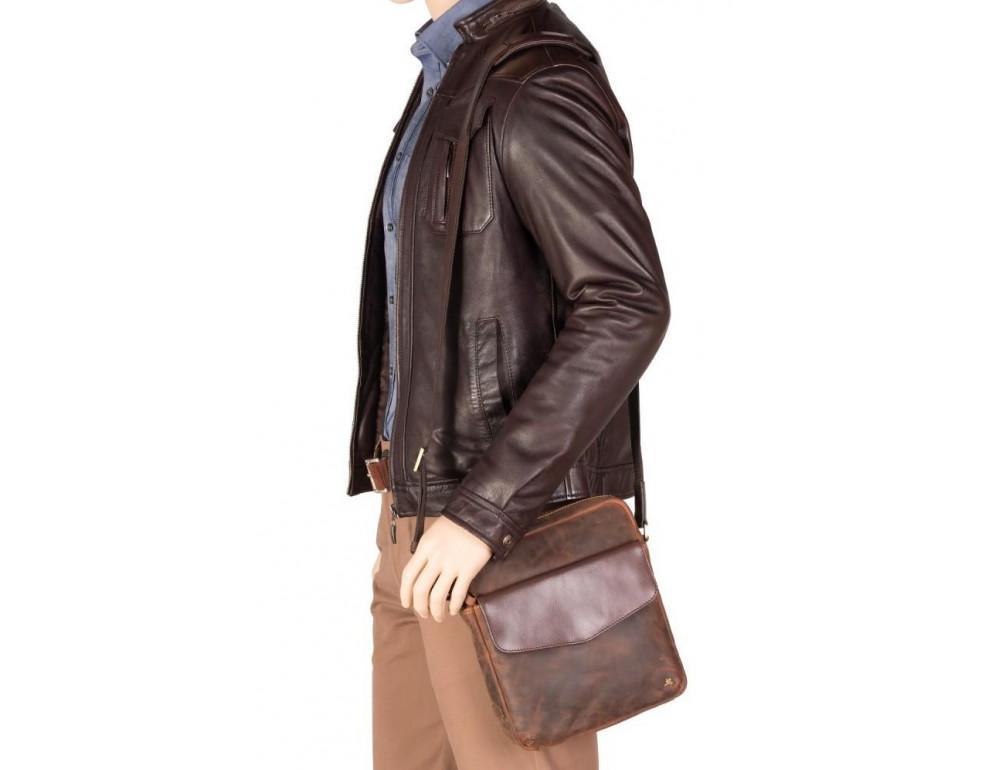 Коричневая мужская сумка на плечо Visconti TC70 OIL TAN - Vesper A5  - Фото № 2