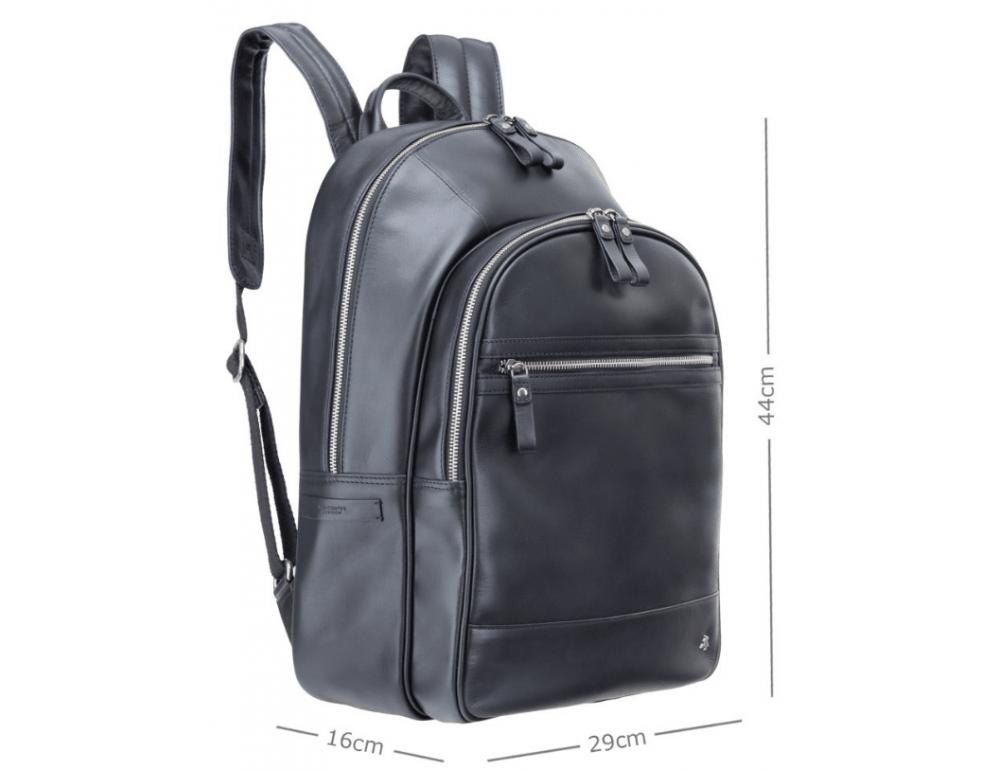 Чёрный кожаный рюкзак мужской Visconti TC80 BLK - Фото № 4