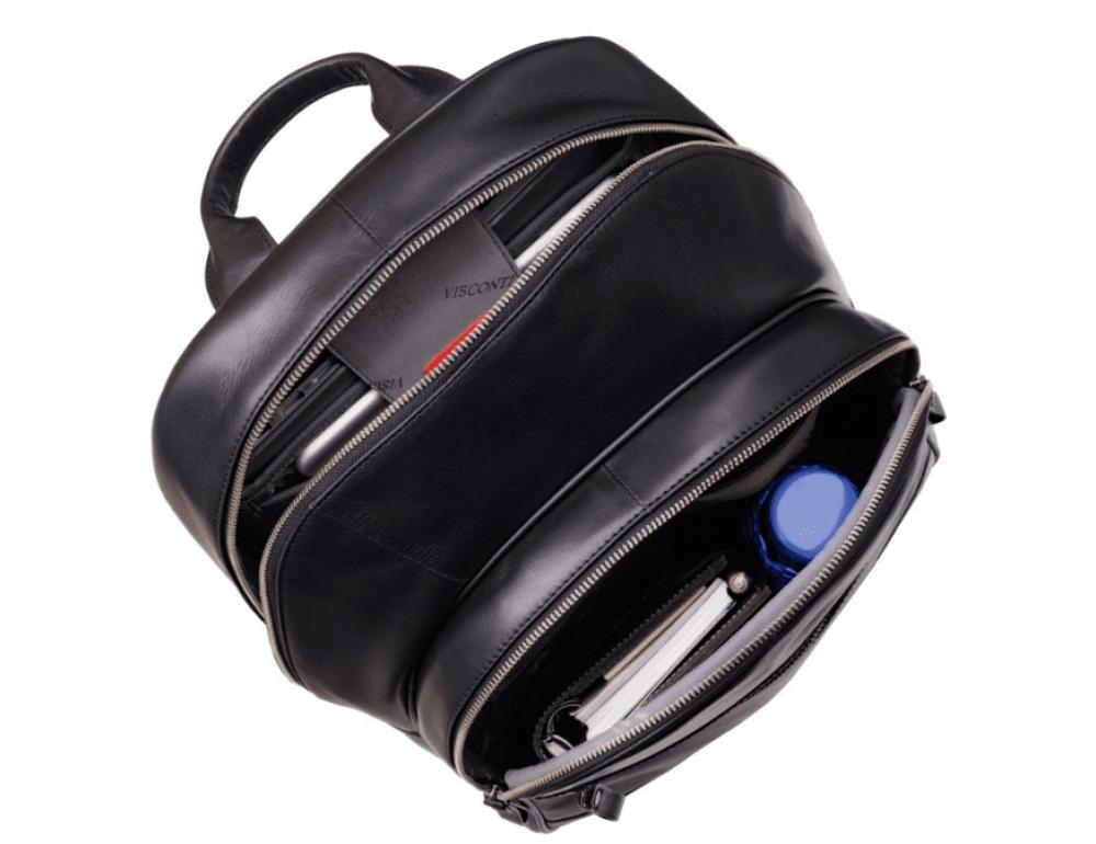 Чёрный кожаный рюкзак мужской Visconti TC80 BLK - Фото № 5