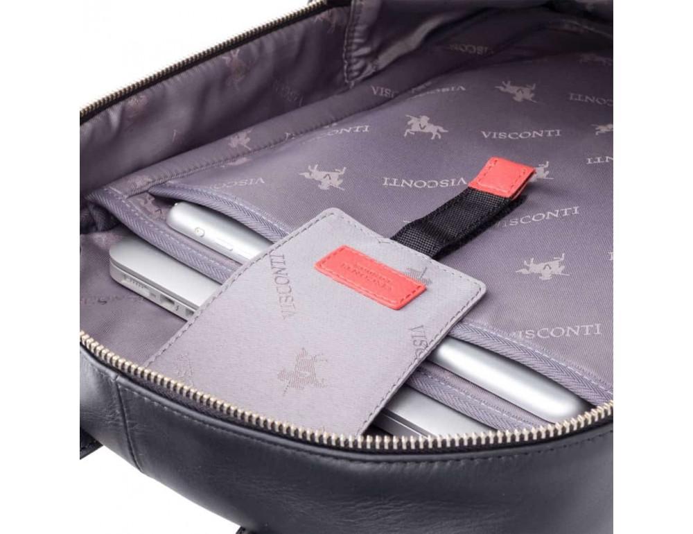 Чёрный кожаный рюкзак мужской Visconti TC80 BLK - Фото № 3