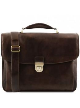 Тёмно-коричневый кожаный портфель Tuscany Leather TL142067 DARK BROWN