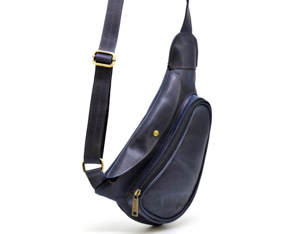 Синяя кожаная сумка через плечо TARWA TK-3026-3md - Фото № 2