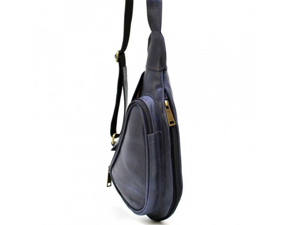 Синяя кожаная сумка через плечо TARWA TK-3026-3md - Фото № 3