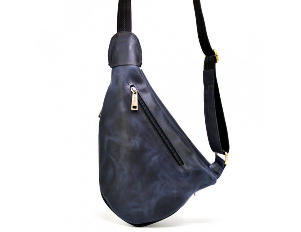 Синяя кожаная сумка через плечо TARWA TK-3026-3md - Фото № 4
