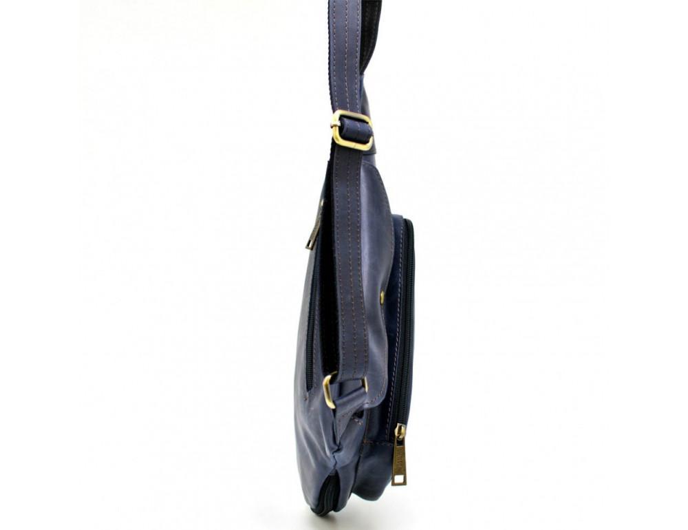 Синяя кожаная сумка через плечо TARWA TK-3026-3md - Фото № 5