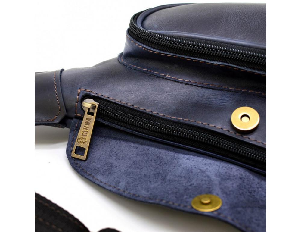 Синяя кожаная сумка через плечо TARWA TK-3026-3md - Фото № 7