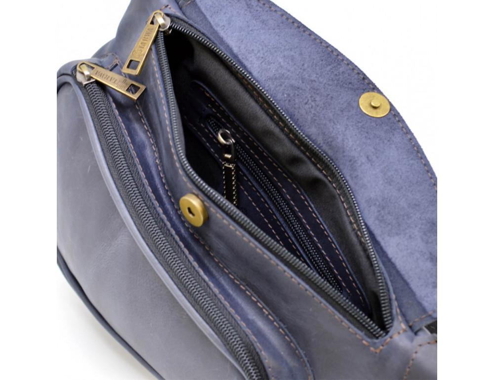 Синяя кожаная сумка через плечо TARWA TK-3026-3md - Фото № 8