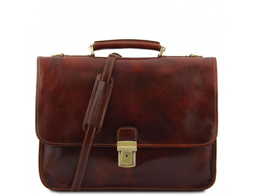 Мужской портфель из итальянской кожи Tuscany Leather TL10029 Brown - Фото № 1
