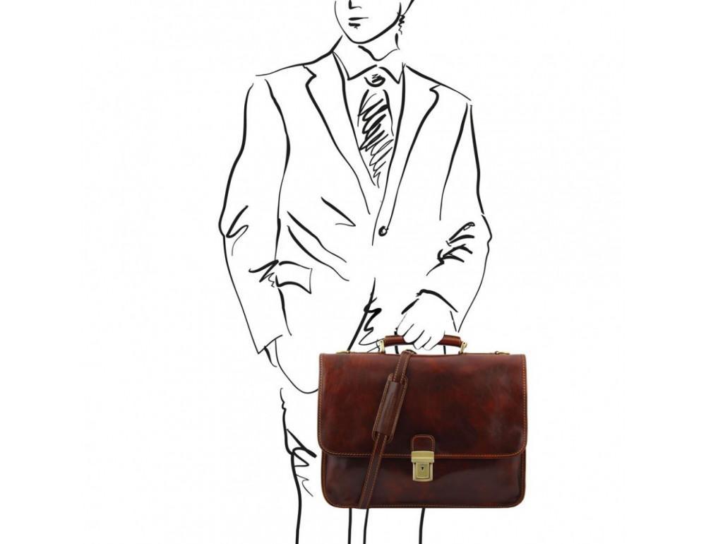 Мужской портфель из итальянской кожи Tuscany Leather TL10029 Brown - Фото № 2
