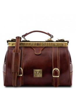 Шкіряний італійський саквояж унісекс Tuscany Leather TL10034 Brown
