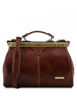 Жіноча коричнева шкіряна сумка-саквояж Tuscany Leather TL10038 Brown