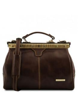 Жіночий шкіряний саквояж MICHELANGELO Tuscany Leather TL10038 Dark Brown