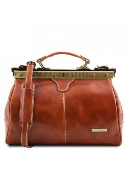 Жіноча світло-коричнева шкіряна сумка-саквояж Tuscany Leather TL10038 Med