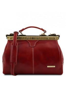 Жіноча червона шкіряна сумка-саквояж Tuscany Leather TL10038 Red