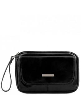 Чёрная мужская барсетка на запястие Tuscany Leather TL140849 Black