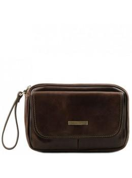 Тёмно-коричневая мужская барсетка на ремешке Tuscany Leather TL140849 darck coffe