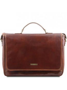Большая кожаная сумка мессенджер PADOVA Tuscany Leather TL140891 Brown