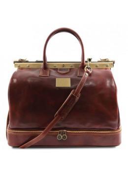 Великий шкіряний саквояж коричневий Tuscany Leather TL141185 Brown