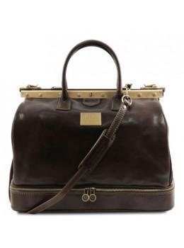 Темно-коричневий шкіряний саквояж Tuscany Leather TL141185 Dark Brown