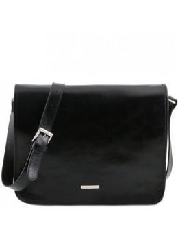 Черная большая сумка через плечо мужская Tuscany Leather TL141254 Black