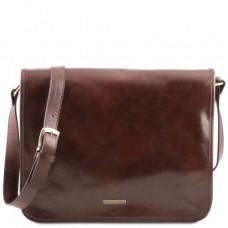 Большая коричневая сумка через плечо с двумя отделами Tuscany Leather TL141254 Brown