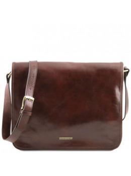 Велика коричнева сумка через плече з двома відділами Tuscany Leather TL141254 Brown