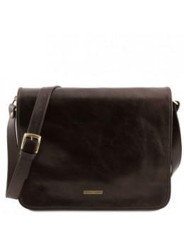 Темно-коричневая сумка через плечо с двумя отделами Tuscany Leather TL141254 Dark Brown