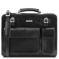 Чёрный итальянский кожаный портфель для мужчины VENEZIA Tuscany Leather TL141268 Black