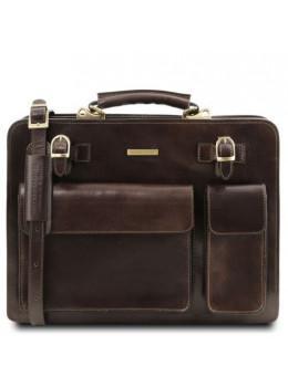 Мужской портфель кожаный VENEZIA Tuscany Leather TL141268 Dark Brown