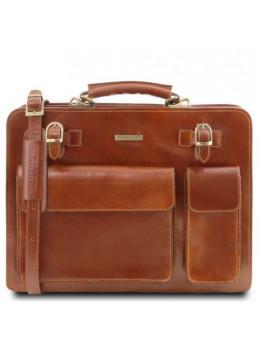 Светло-коричневый кожаный портфель без клапана Tuscany Leather TL141268 Med