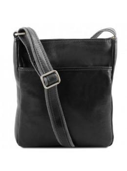 Чёрная мужская кожаная сумка мессенджер Tuscany Leather JASON TL141300 Black