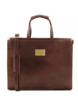 Коричневая кожаная деловая сумка женская Tuscany Leather TL141343 Brown