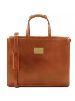 Світло-коричневий жіночий портфель з натуральної шкіри Tuscany Leather TL141343 Med