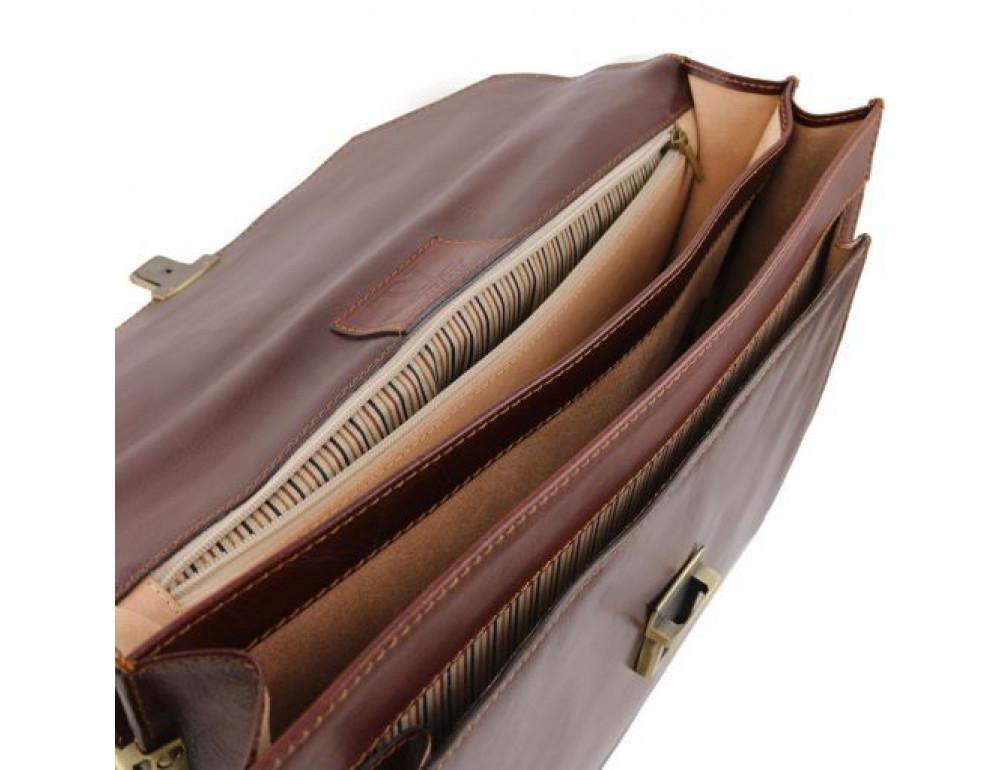Чёрный итальянский портфель из натуральной кожи Tuscany Leather TL141348 Black - Фото № 3