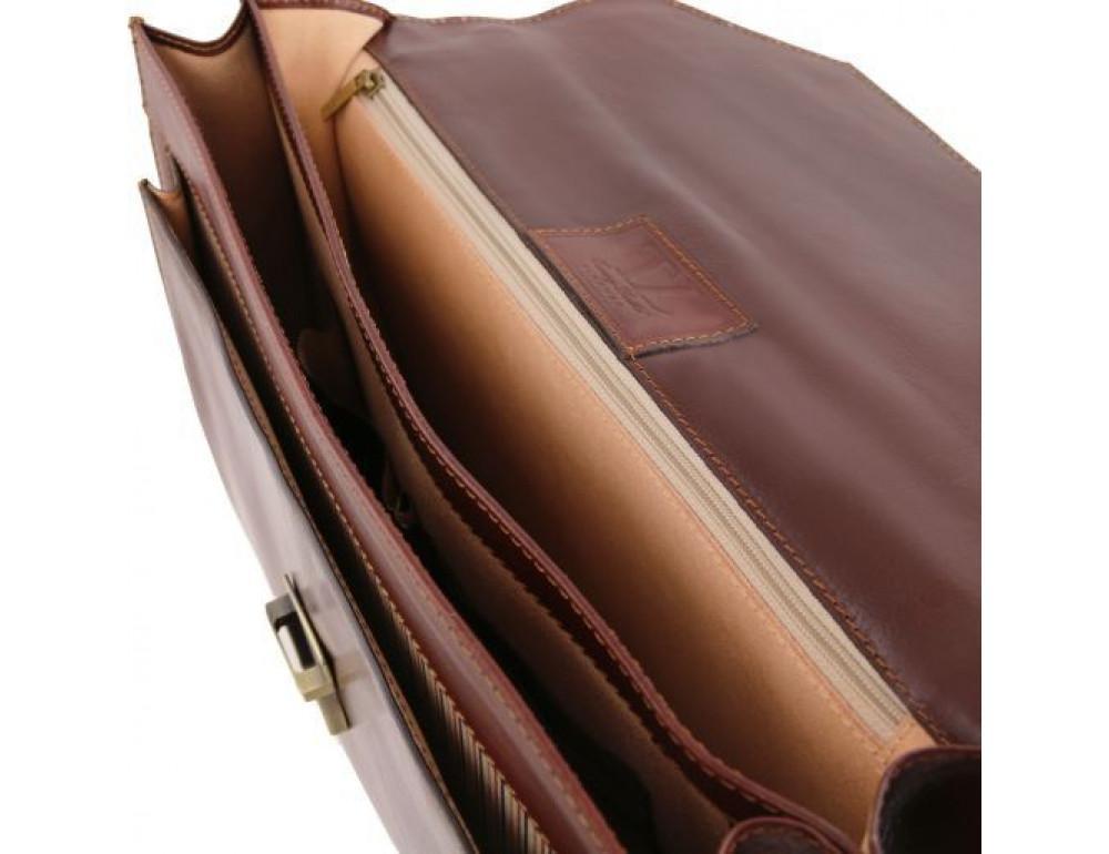 Чёрный итальянский портфель из натуральной кожи Tuscany Leather TL141348 Black - Фото № 4