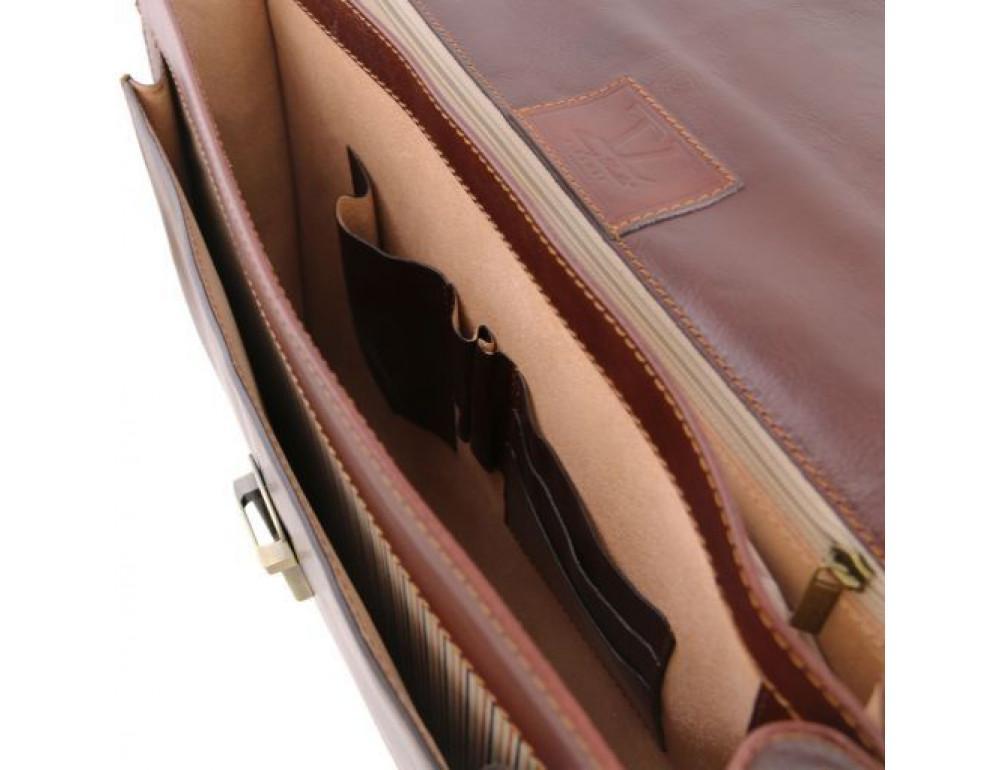 Чёрный итальянский портфель из натуральной кожи Tuscany Leather TL141348 Black - Фото № 5