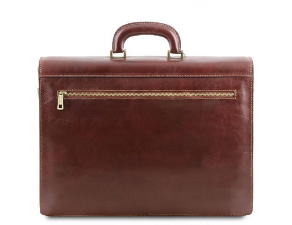 Чёрный итальянский портфель из натуральной кожи Tuscany Leather TL141348 Black - Фото № 6