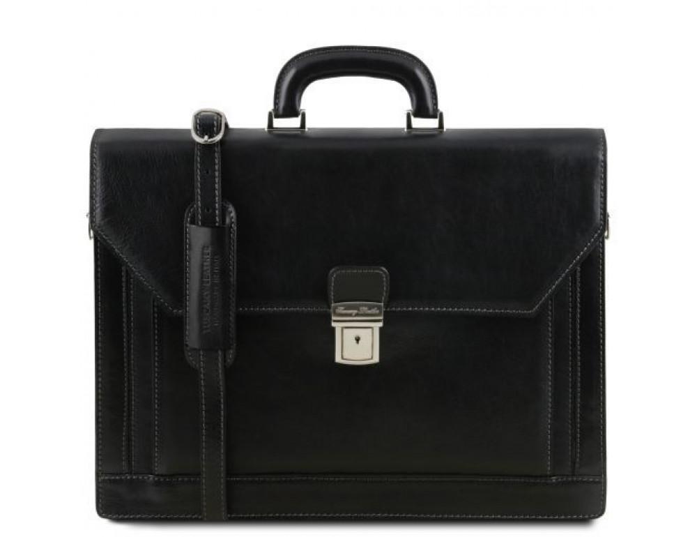 Чёрный итальянский портфель из натуральной кожи Tuscany Leather TL141348 Black - Фото № 1