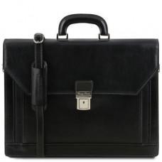 Чёрный итальянский портфель из натуральной кожи Tuscany Leather TL141348 Black