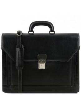 Чорний італійський портфель з натуральної шкіри Tuscany Leather TL141348 Black