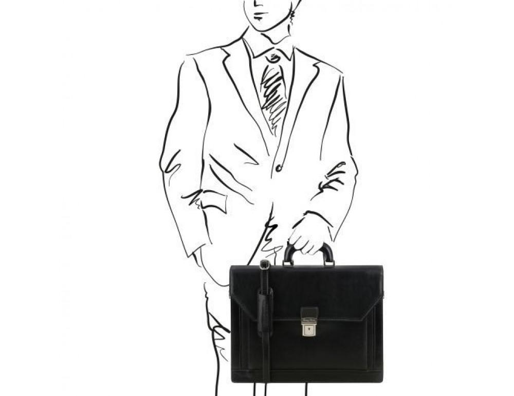 Чёрный итальянский портфель из натуральной кожи Tuscany Leather TL141348 Black - Фото № 2