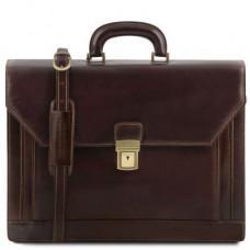 Большой портфель мужской Tuscany Leather TL141348 Dark Brown