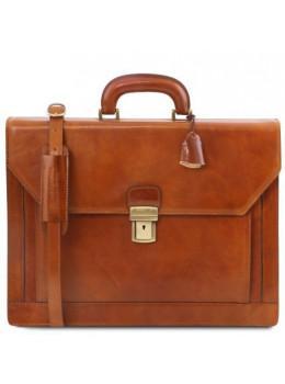 Светло-коричневый кожаный портфель Tuscany Leather TL141348 Med