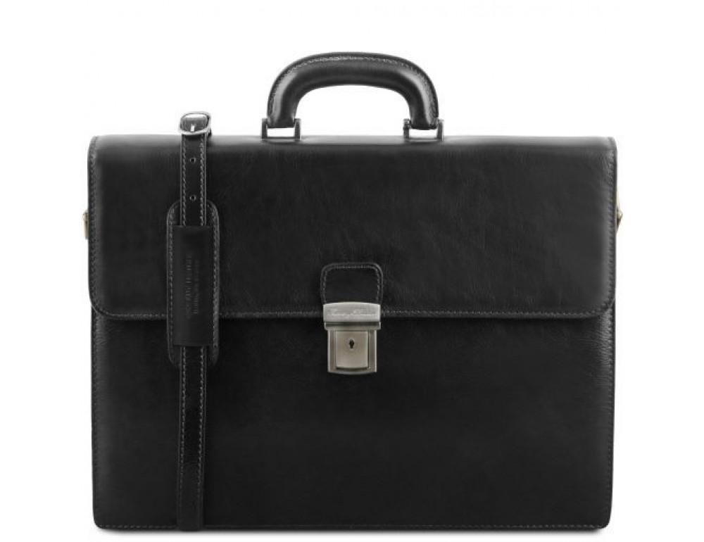 Чёрный мужской портфель Tuscany Leather TL141350 Black - Фото № 1