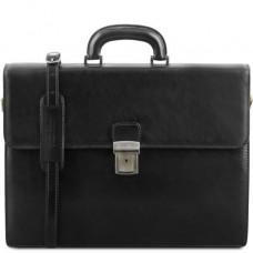 Чёрный мужской портфель Tuscany Leather TL141350 Black